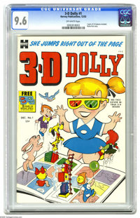 3-D Dolly #1 (Harvey, 1953) CGC NM+ 9.6 Off-white pages. Both pairs of 3-D glasses are indeed included with this comic...