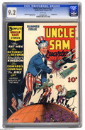 Golden Age (1938-1955):Superhero, Uncle Sam Quarterly #3 (Quality, 1942) CGC NM- 9.2 white pages. Here's the highest-graded copy of this issue, which stars th...