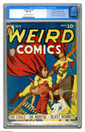 Golden Age (1938-1955):Superhero, Weird Comics #8 Mile High pedigree (Fox Features Syndicate, 1940) CGC NM 9.4 Off-white to white pages. This issue's the scar...