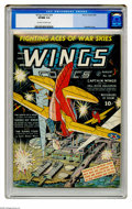 Golden Age (1938-1955):War, Wings Comics #24 (Fiction House, 1942) CGC VF/NM 9.0 Off-white towhite pages. Gene Fawcette cover. Overstreet 2005 VF/NM 9....