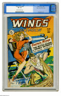 Golden Age (1938-1955):War, Wings Comics #98 Mile High pedigree (Fiction House, 1948) CGC VF-7.5 Cream to off-white pages. Bob Lubbers cover. George Ev...