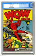 """Golden Age (1938-1955):Superhero, Wow Comics #2 Mile High pedigree (Fawcett, 1941) CGC NM 9.4 Off-white pages. This issue's rated """"scarce"""" by Overstreet, and ..."""