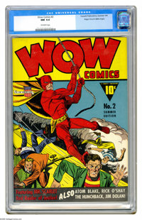 """Wow Comics #2 Mile High pedigree (Fawcett, 1941) CGC NM 9.4 Off-white pages. This issue's rated """"scarce"""" by Ov..."""