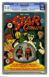 All Star Comics #8 (DC, 1942) CGC VF- 7.5 Cream to off-white pages. The cover scene by artist E. E. Hibbard is seared in...