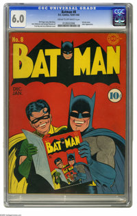 Batman #8 (DC, 1942) CGC FN 6.0 Cream to off-white pages. Fred Ray does his first cover for this title, and it's an infi...