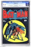 Golden Age (1938-1955):Superhero, Batman #9 (DC, 1942) CGC VF 8.0 Cream to off-white pages. One of the best-known Batman covers of all is this one here by Jac...