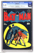 Golden Age (1938-1955):Superhero, Batman #9 (DC, 1942) CGC VG/FN 5.0 Cream to off-white pages. A classic cover by Jack Burnley leads off this issue; inside th...