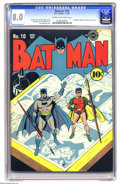 Golden Age (1938-1955):Superhero, Batman #10 (DC, 1942) CGC VF 8.0 Cream to off-white pages. Note that the highest grade yet assigned for this issue is just a...