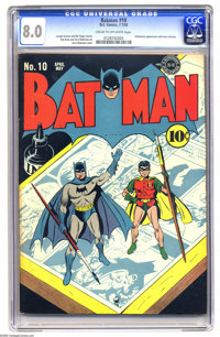 Batman #10 (DC, 1942) CGC VF 8.0 Cream to off-white pages. Note that the highest grade yet assigned for this issue is ju...