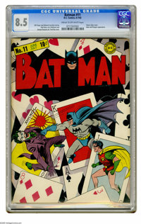 Batman #11 (DC, 1942) CGC VF+ 8.5 Cream to off-white pages. The fact that the original art for this Fred Ray-Jerry Robin...