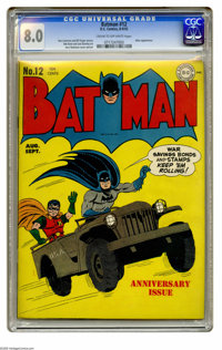 Batman #12 (DC, 1942) CGC VF 8.0 Cream to off-white pages. Jerry Robinson drew this issue's war bonds cover as well as c...