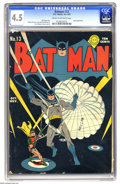 Golden Age (1938-1955):Superhero, Batman #13 (DC, 1942) CGC VG+ 4.5 Cream to off-white pages. The Joker has a new scheme to make loads of cash, and Batman rea...