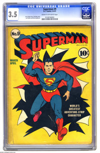 Superman #9 (DC, 1941) CGC VG- 3.5 Cream to off-white pages. We love Fred Ray art -- we might as well come out and admit...