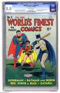 """Golden Age (1938-1955):Superhero, World's Finest Comics #3 (DC, 1941) CGC VF 8.0 Off-white pages. Now that the Scarecrow has hit the big screen in the movie """"..."""