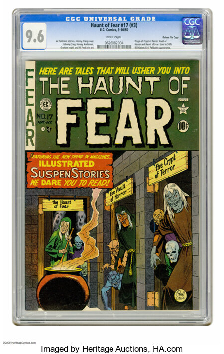 Haunt of Fear #17 (#3) Gaines File pedigree (EC, 1950) CGC NM+ 9.6 White pages. No copy of this issue has been graded higher...