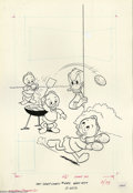 Original Comic Art:Covers, Kay Wright - Walt Disney's Comics and Stories #442 Cover OriginalArt (Gold Key, 1977). Huey goes long for a thick, juicy ha...