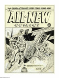 Original Comic Art:Covers, Alex Schomburg - All-New Comics #5 Cover Original Art (Harvey,1943). High above the U.S. Capitol, Captain Red Blazer and Sp...