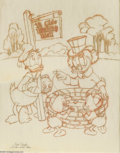 "Original Comic Art:Sketches, Carl Barks - ""Wishing Well"" Pencil Sketch (1971) and Mike Royer Uncle Scrooge #229 Cover Original Art (Gladstone, 1988). Her... (2 items)"