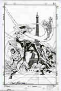 Original Comic Art:Covers, Sal Buscema - Avengers #71 Cover Recreation Original Art (2003).The skies of Paris are filled with battling Golden and Silv...