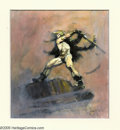 Original Comic Art:Sketches, Frank Frazetta - Warrior Color Preliminary Original Art (undated). A sword-slinging warrior prepares to strike in this spect...