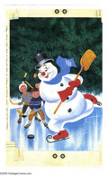 Original Comic Art:Covers, Western Publishing Artist - Four Color #950 Frosty the SnowmanCover Original Art (Dell, 1958). Sizzlin' snowflakes, it's fr... (3items)
