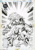 Original Comic Art:Covers, Tom Grummett and Karl Kesel - Superboy #19 Cover Original Art (DC,1995). Holding an ailing Valor in his arms, the Boy of St...