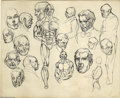Original Comic Art:Sketches, Gil Kane - Anatomy Sketches Original Art (undated). Gil Kane has drawn countless comics series for Marvel, DC, and many othe...