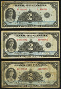 Canadian Currency: , BC-3 $2 1935, Three Examples.. ... (Total: 3 notes)