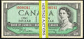 Canadian Currency: , A Large Offering of Twenty-Five Canadian $1 Notes from the 1954Modified Portrait Issue.. ... (Total: 25 notes)