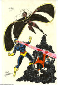 Original Comic Art:Splash Pages, George Perez - X-Men Hand Colored Pin-Up Original Art (undated).George Perez proved himself to be a master of the team-up b...