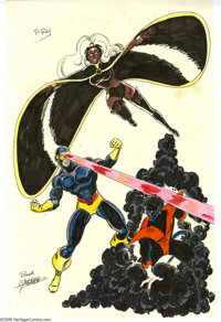 George Perez - X-Men Hand Colored Pin-Up Original Art (undated). George Perez proved himself to be a master of the team-...