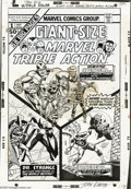 Original Comic Art:Covers, John Romita Sr. - Giant Size Marvel Triple Action #1 Cover OriginalArt (Marvel, 1975). All three panels in this dynamic try...