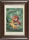 Original Comic Art:Miscellaneous, The Lion King Special Edition Print (The Walt Disney Company,1995). Timon and Pumbaa attend to their future king, Simba, in...
