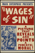"""Movie Posters:Drama, Wages of Sin (Real Life Dramas, 1938). One Sheet (27"""" X 41""""). Drama...."""
