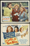 """Movie Posters:Drama, A Letter to Three Wives (20th Century Fox, 1949). Title Lobby Card and Lobby Card (11"""" X 14""""). Drama.... (Total: 2 Items)"""