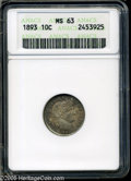 """1893 10C MS63 ANACS. The current Coin Dealer Newsletter (Greysheet) wholesale """"bid"""" price is $140.00....(PCGS#..."""