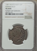 1787 COPPER Connecticut Copper, Draped Bust Left, VG8 NGC. M. 33.11-Z.18, W-3515, R.5. Ex: Carlyle A. Luer Collection...