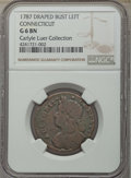 1787 Connecticut Copper, Draped Bust Left, ETLIR, Good 6 NGC. M. 33.17-gg.2, W-3635, R.5. Ex: Carlyle A. Luer Collection...
