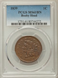Large Cents: , 1839 1C Booby Head MS61 Brown PCGS. PCGS Population: (5/69). NGC Census: (8/55). Mintage 3,128,661. ...