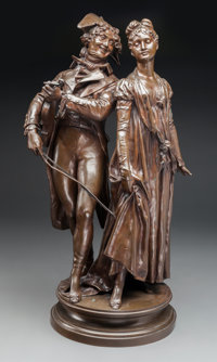 After Étienne-Henry Dumaige (French) The Musician and the Dancer Bronze with brown patina 24 inch