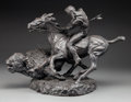 Sculpture, Thomas Holland (American, 1917-2004). Buffalo Hunt, 1972. Patinated plaster. 15 inches (38.1 cm) high. Ed. 244/500. Insc...