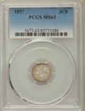 Three Cent Silver: , 1857 3CS MS63 PCGS. PCGS Population: (52/133). NGC Census:(50/162). MS63. Mintage 1,042,000. ...