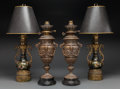 Decorative Arts, Continental:Lamps & Lighting, Two Pairs of Gilt and Patinated Metal Urns Mounted as Lamps, early20th century and later. 27 inches high (68.6 cm) (taller ...(Total: 4 Items)