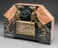 A French Art Deco Mantel Clock with Panther Motif, circa 1925 Marks: PIGNOLET, JUVISY 11-3/4 h x 16-