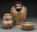 Asian:Other, A Three-Piece Group of Japanese Satsuma Pottery, Meiji-TaishoPeriod. Marks: (various). 12 inches high (30.5 cm) (tallest, v...(Total: 3 Items)