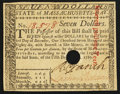 Colonial Notes:Massachusetts, Massachusetts May 5, 1780 $7 Hole Cancel New.. ...
