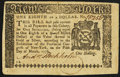 Colonial Notes:New York, New York March 5, 1776 $1/8 Extremely Fine.. ...