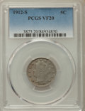 Liberty Nickels: , 1912-S 5C VF20 PCGS. Pop (91/1086), CDN Collector Price ($416.00),Trends ($450.00), CAC (8/169), GOLD CAC (0/1)