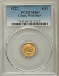 Commemorative Gold, 1922 G$1 Grant Gold Dollar, With Star, MS64 PCGS. PCGS Population:(594/1476). NGC Census: (319/775). CDN: $1,250 Whsle. Bi...