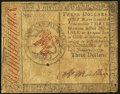 Colonial Notes:Continental Congress Issues, Continental Currency January 14, 1779 $3 Fine.. ...